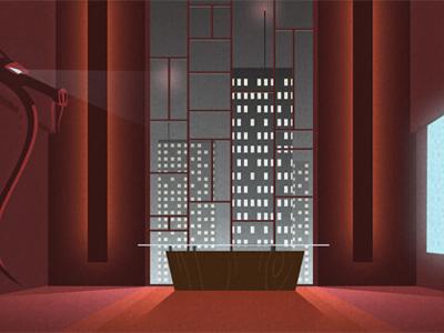 evil office vector red illustration