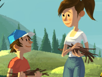 Campground concept art character design quickie illustration