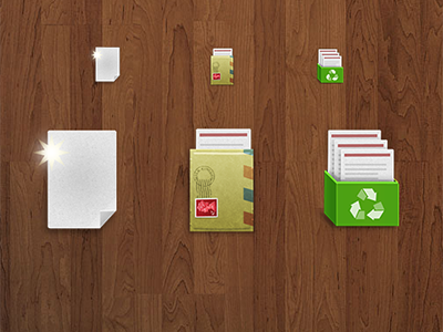 Text Icons new mail recycle skeuomorphic