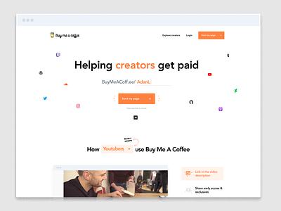 Buy Me A Coffee 2.0 homepage web design