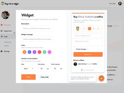 Embeddable widgets ui dashboad design