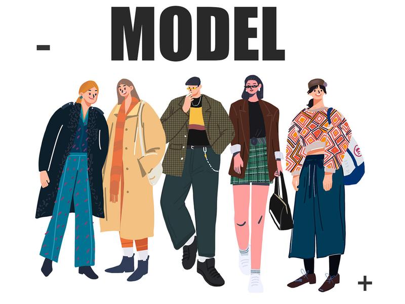 Model design walking people film vector girl 插画