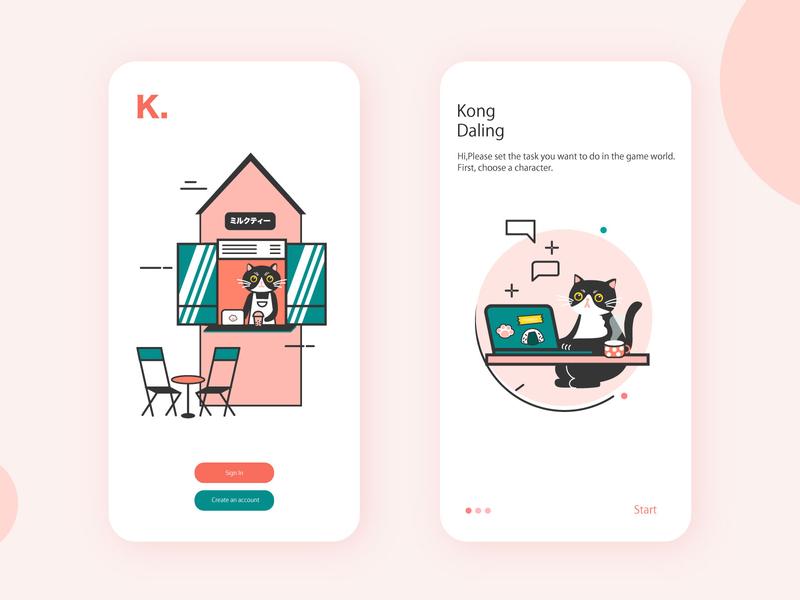 Cat banner work shop cat ui vector illustration design role