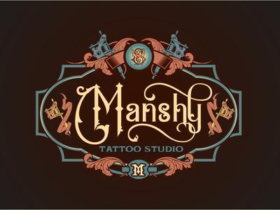 Manshy Tattoo Studio Vintage Logo label