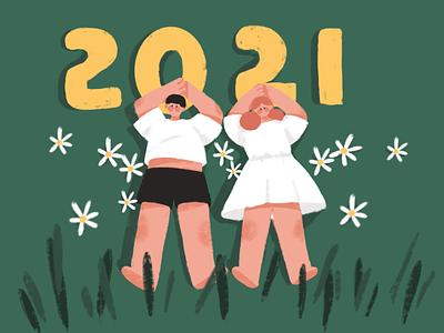 2021 calendar design illustration