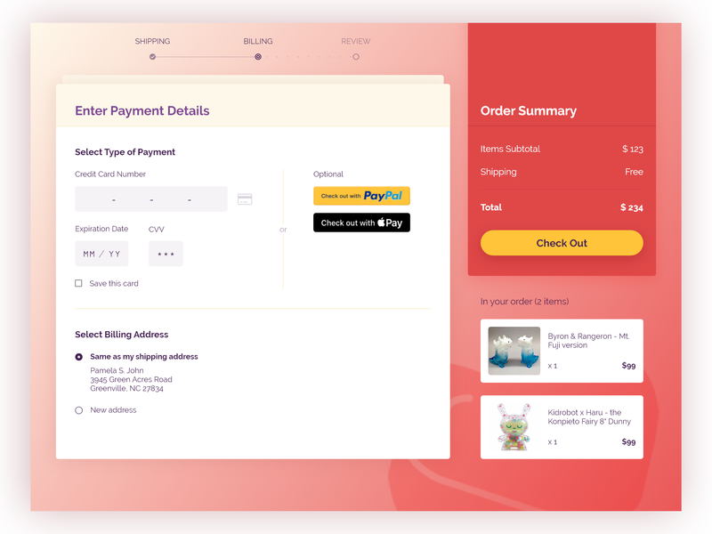 Daily UI Challenge #002 - Credit Card Checkout by Lois Chen