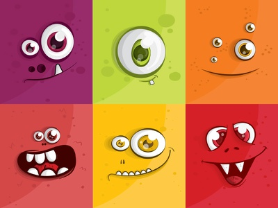Monsters Faces characters cartoon funny faces monsters illustration