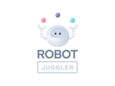 Robot Juggler Logo logo design brand design modern design future ilustrator brand design juggling robot modern logo modern logo