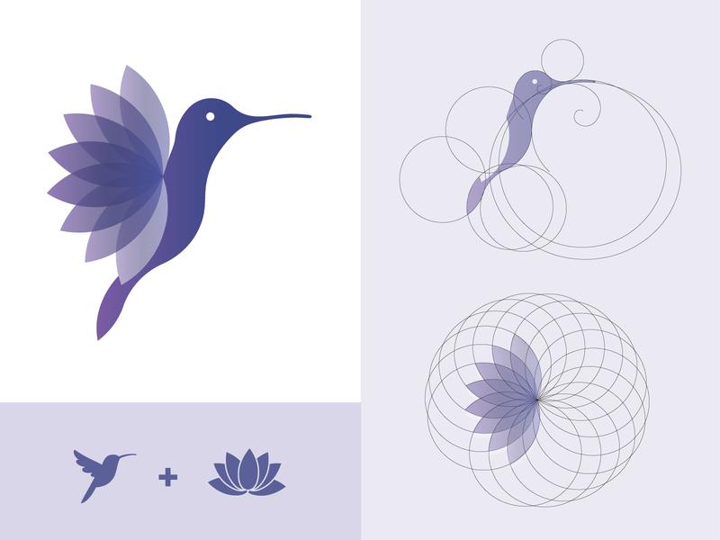 Hummingbird Spirit lotus flower lotus hummingbird coaching vector digital drawing logo design