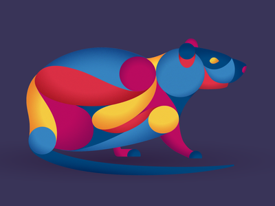 Con chuột 🐀 illustrator grain texture grain vibrant colors rat