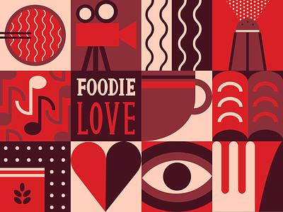 Foodie Love hbo foodies food digital drawing design vector flat flat design illustrator illustration geometric illustration geometric design geometric shape shapes foddie foodielove