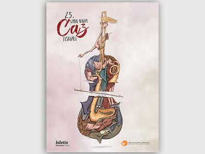 Izmir Caz Festivali Afişi caz illustration design afiş poster festival jazz izmir