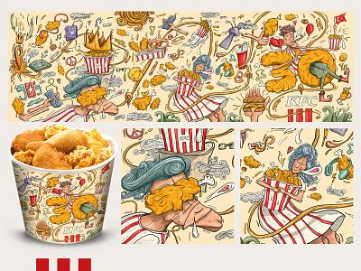 KFC Turkey 30th Year Bucket Design Competition character sketch paint food bucket kfcturkiye kfc design people draw art illustration