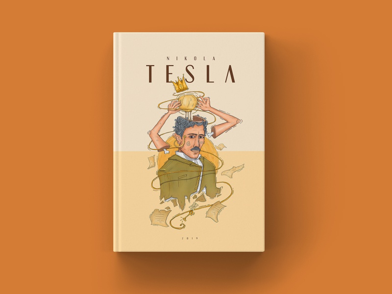 Book Cover Illustration - Nikola Tesla Portrait portrait cover design wacom photoshop cover art books nikola tesla tesla draw illustration book cover book