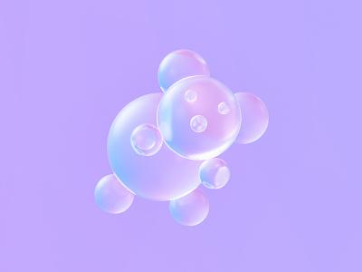 Purple Teddy Bear christmas illustration 2020 digitalart minimalistic floating glass c4d arnoldrender cinema4d 3d render pink purple bear