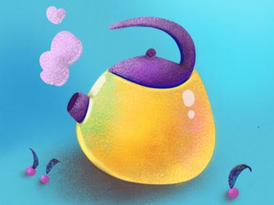 Funny teapot & cherries  — flat vector