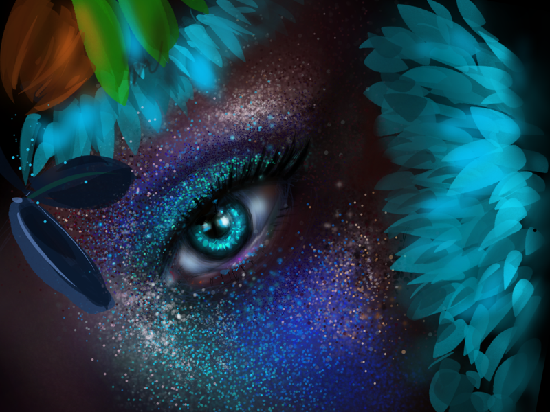 Floran Blue procreate ipad tropical eyes eye makeup dots illustration portrait