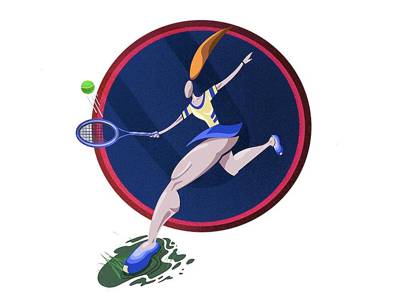 World Cup of tennis fireart emotion character vector tennis sport muscles illustration girl flat digital body ball anatomy