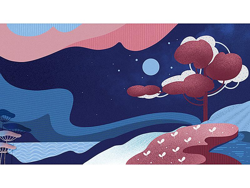 Fluffy night digital art procreate flat illustration vector water tree night landscape