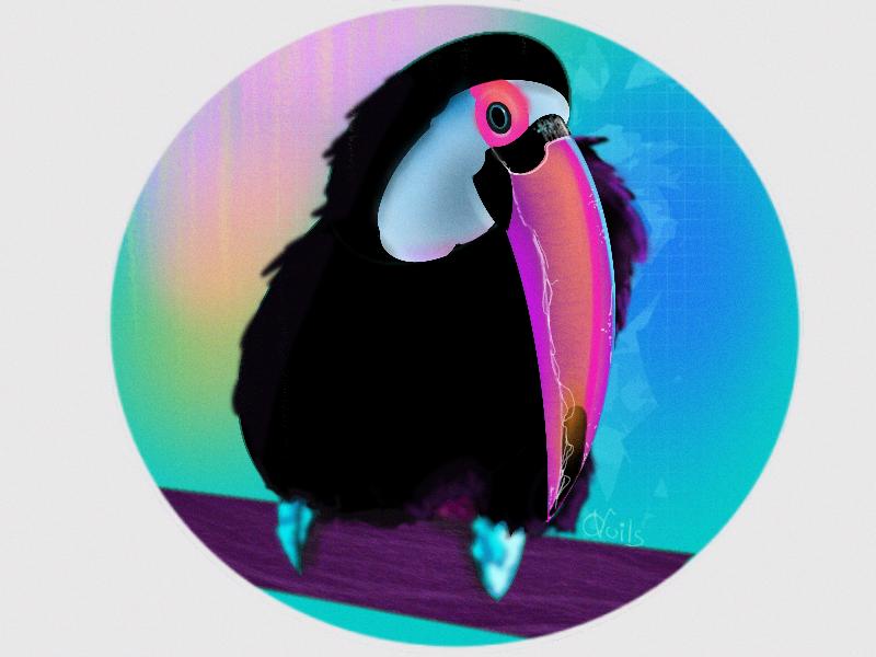 Mood bird 🐦 cartoon character digital flora fauna new flat 2d rainbow blue pink realistic procreate vector illustration colorful color bird