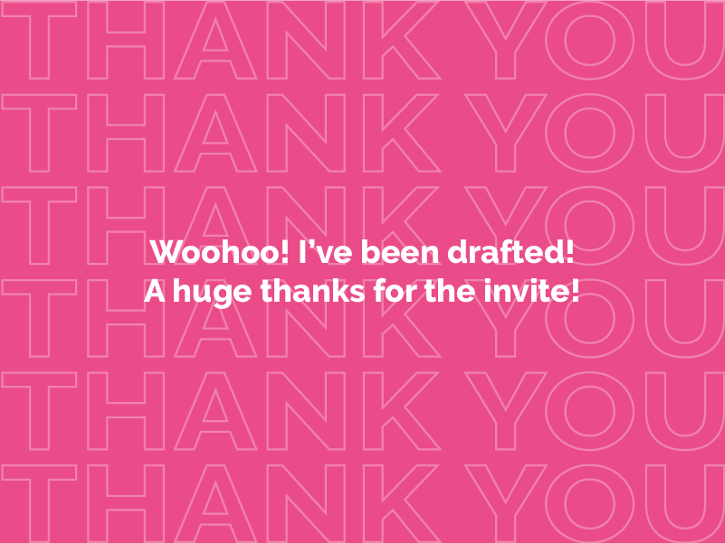 Drafted! in the game debut typogaphy