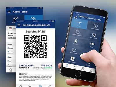 Cluj - International Airport Mobile App takeoff grid menu pass boarding mobile app ios airport