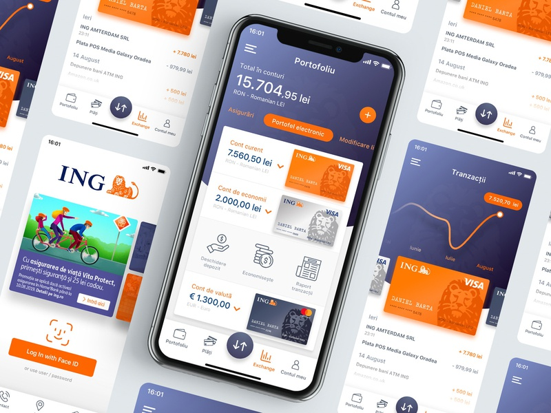 ING Home Bank RO - Design concept preview ux ui redesign visa mobile branding card wallet money transaction apple app iphone ios dashboard application ing homebank banking bank