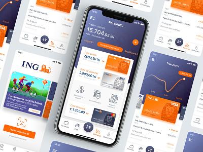 ING Home Bank RO - Design concept preview ux ui redesign visa mobile branding card wallet money transaction apple app iphone ios dashboard application ing homebank banking bank