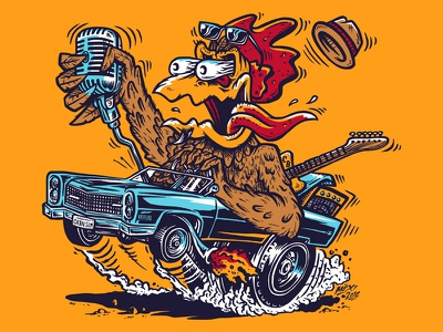 Chickenbone Slim & The Biscuits t-shirt graphic roth cintiq illustration lineart