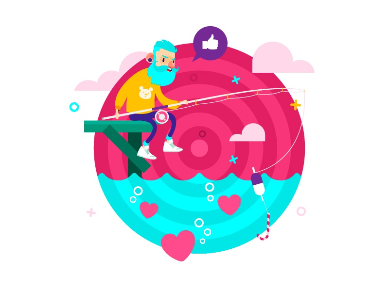 Fishing on Dribbble web illustraton fishing design charaсter art