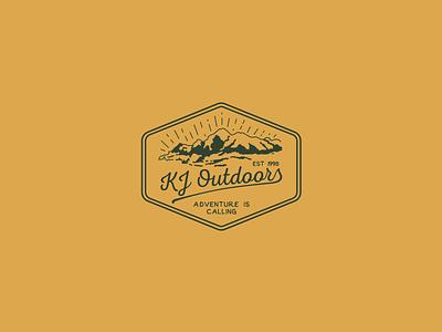 KJ Outdoors vintage typography typeface startup sketch media logo icon digital design branding adobe