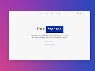 Minimal Portfolio Landing Page landing page branding web ui web design design
