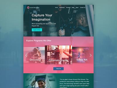 Vincent Film School web web design ui design