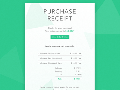 Email Receipt template web ui email design