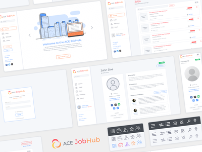 ACE JobHub UI ui design ux branding logo vector icon web design web illustration design ui