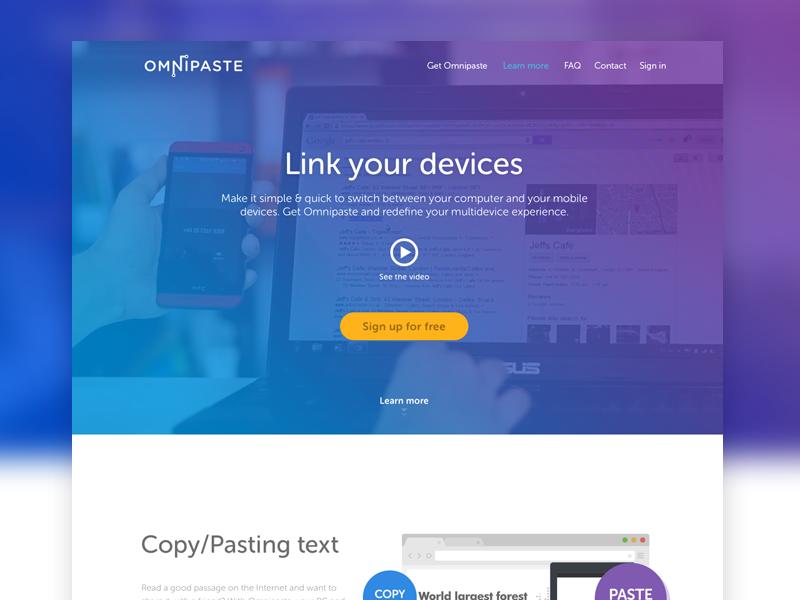 Omnipaste app launch web homepage ui