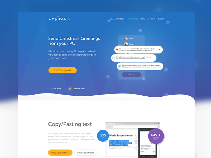 Christmas Greeting for Omnipaste webdesign ui ux