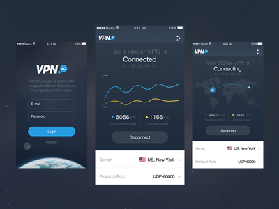 VPN App for iOS ux ui servers graph sketch vpn ios app user interface user experience