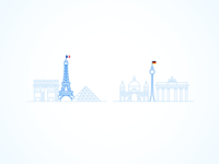 From Paris to... icons blue line illustration