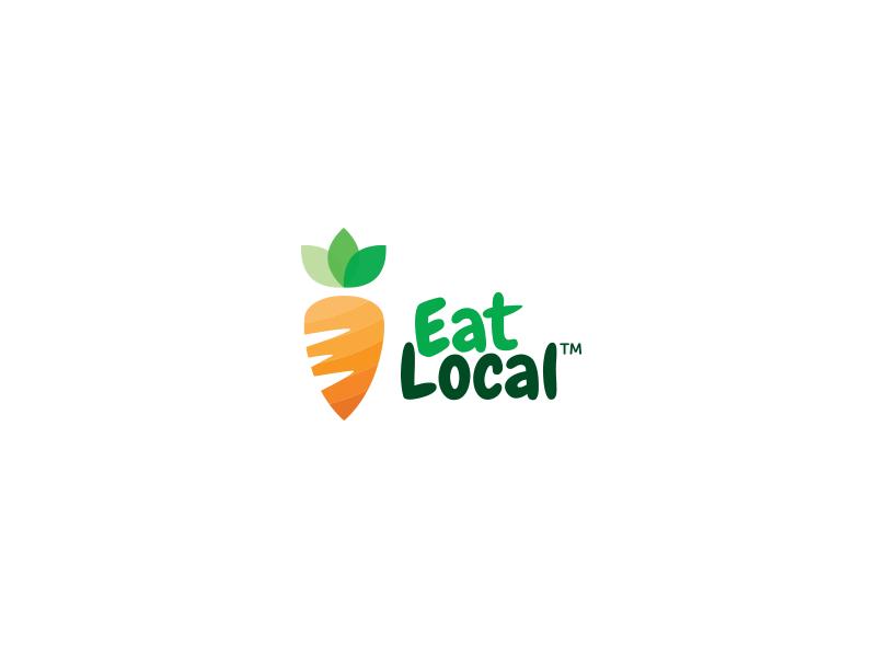 Eat Local Logo app fresh flat trend carrot branding logo
