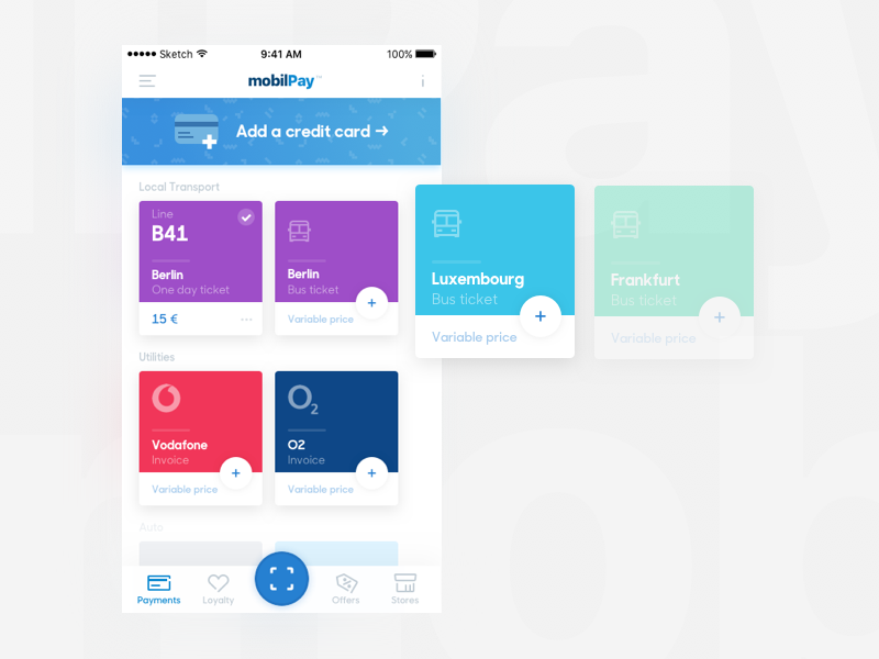 MobilPay interface embraces tiny cards cards payments mobile ux ui
