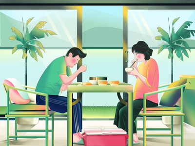 Eating in Room 餐具 家具 植物 室内 春 食物 home mountain illustration