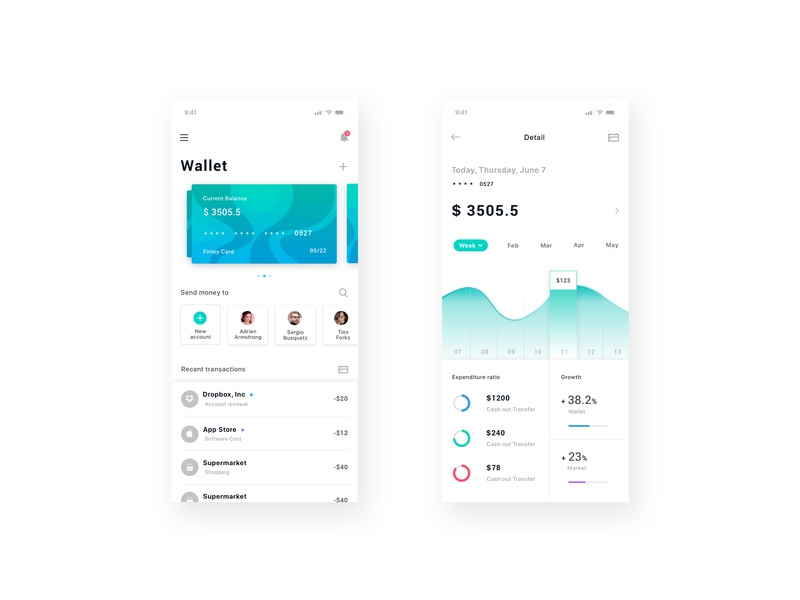 Payment Application ui  ux ionic native ios app concept wallet finance clean bank app