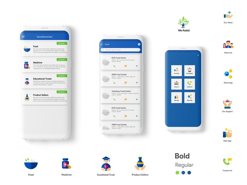 We Assist android app ui  ux design
