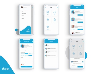 Vetzy - Pet Care Application ios 10 experience design app concept ios ui  ux design