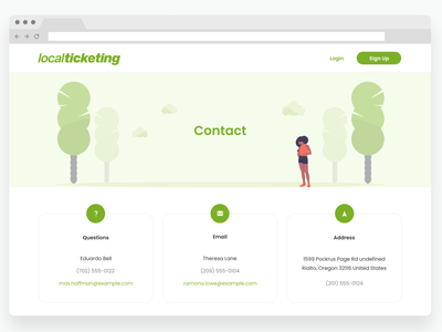 Contact Page design minimal illustration clean web ux ui help question address email contact contact page contact us