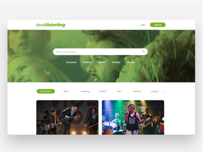 Event Ticketing Landing Page clean ux design ui ticket booking ticket buy concert header event ticketing tickets search artist music homepage landing page events