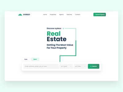 Real Estate  - Landing Page clean web design ui ux room house city properties property search bar searching sale rent booking realestate real estate