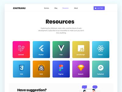 Resources Page  - Chitranu company resource sketch figma gradient color gradient logo gradient web page resources page laravel resources branding illustration typography clean ux ui design