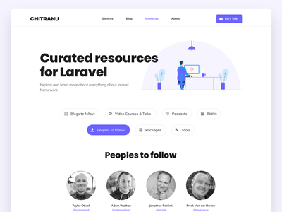 Curated Resources  - Laravel landing page clean pills tabs blogs follow illustration minimal web ui design community team peoples awesome laravel resources